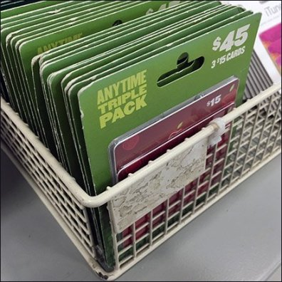 Gift Card Presentation Via Wire Basket Display